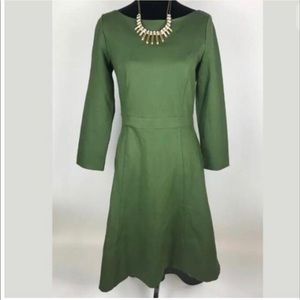 J.CREW NWT Green Fit & Flare Dress Stretch Ponte